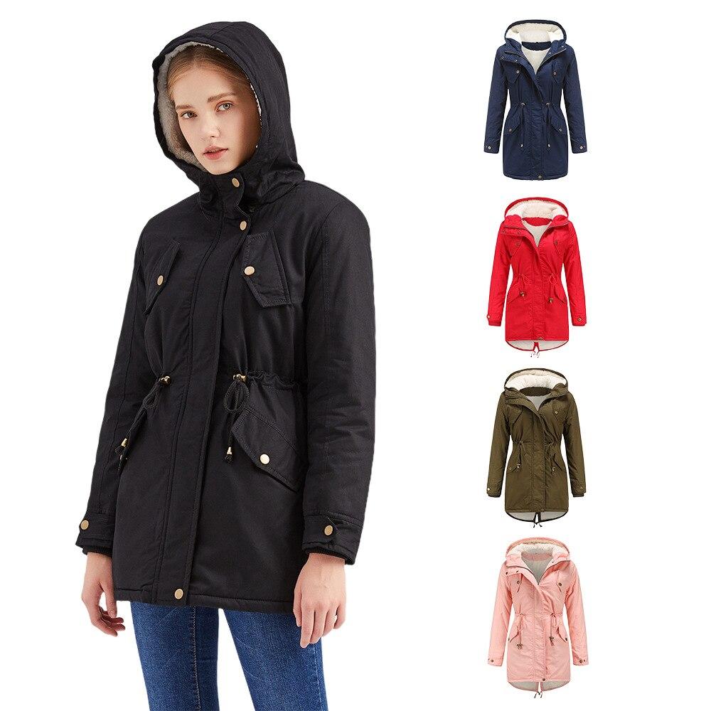 معطف الشتاء للمرأة 2021 الصلبة القطن مقنعين رشاقته الصوف الدافئة سترة وسادة مبطنة الكشمير معطف امرأة ملابس خارجية كبيرة الحجم