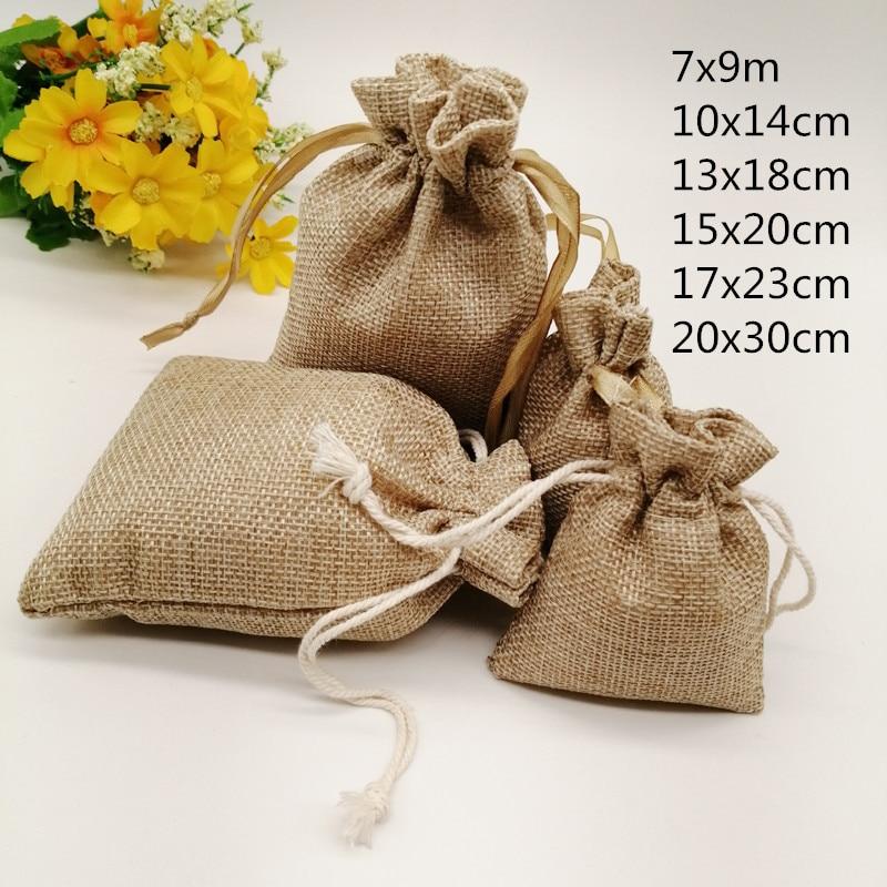 20pcs Jute Zak Jute Linen Drawstring Bag Gift Bag Jutte Zakjes Diy Handmade Jute Bag Pack Christmas