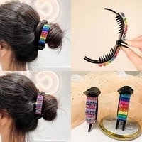 fashion korean rainbow hair claw for women strong grip bun large hairclips ornament ponytail holder hair accessories for girls