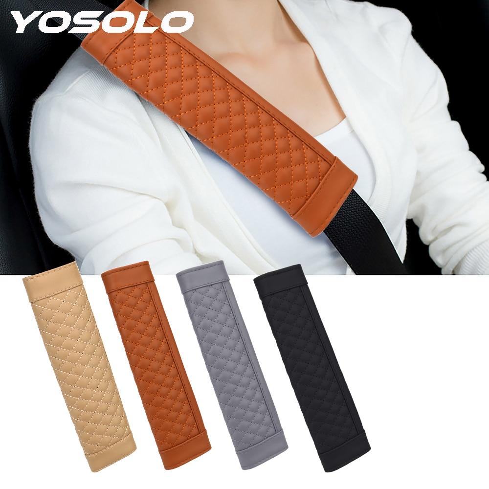 YOSOLO 2 unid/set almohadilla para correa de hombro de cuero PU suave cubierta de cinturón de seguridad de coche cómoda conducción cinturón de seguridad acolchado