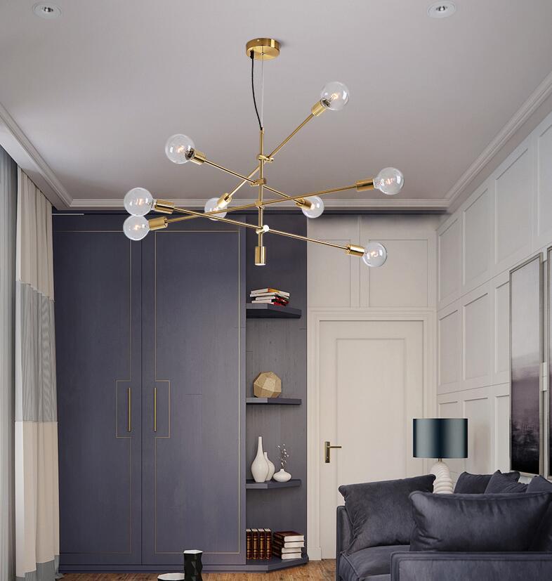 HAIXIANG moderne or plafonnier salle à manger couloir lustre rotatif suspension lustre