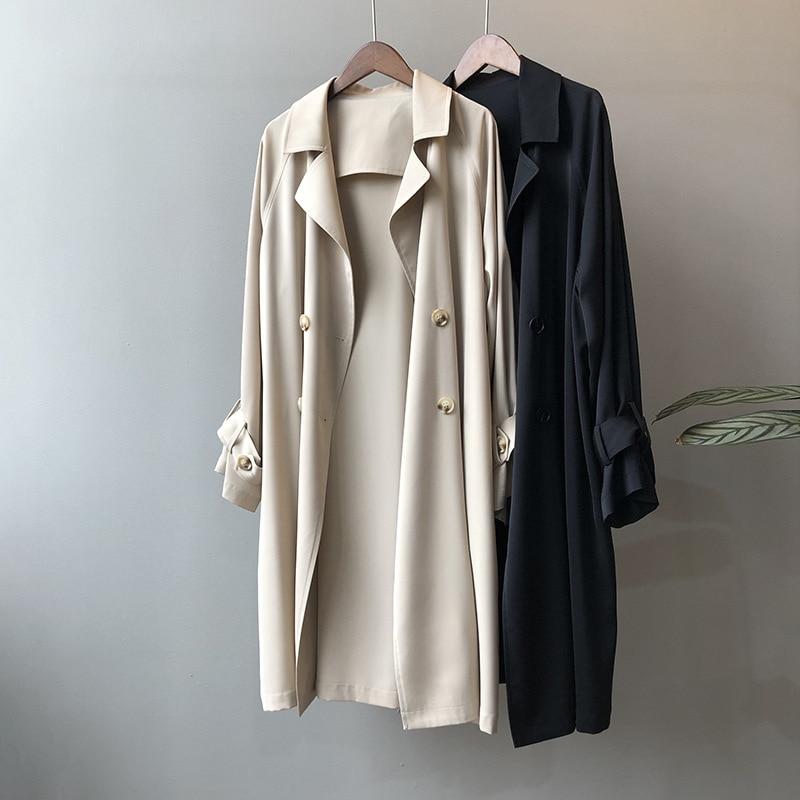 معطف واق من المطر مزدوج الصدر للنساء ، ملابس كلاسيكية كبيرة الحجم للخريف ، ملابس خارجية ، B60 ، مجموعة جديدة 2020