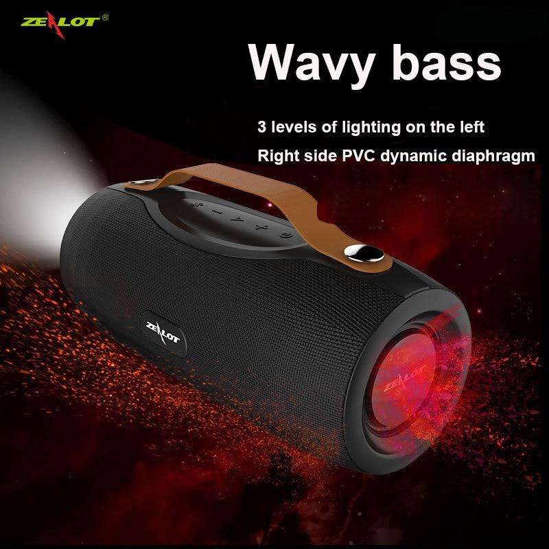 ZEALOT S29 مكبرات صوت بخاصية البلوتوث صندوق الصوت اللاسلكي لعمود الكمبيوتر مضخم صوت ستيريو مع باور بانك + مصباح يدوي في الهواء الطلق Boombox