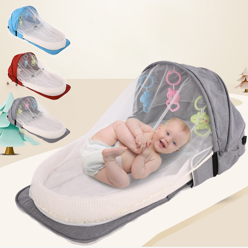 Portable Baby Crib Newborn Baby Bed Folding Travel Beds Nest Infant Bassinet Cot With Toys Mosquito Net Cribs For Baby Sleeping