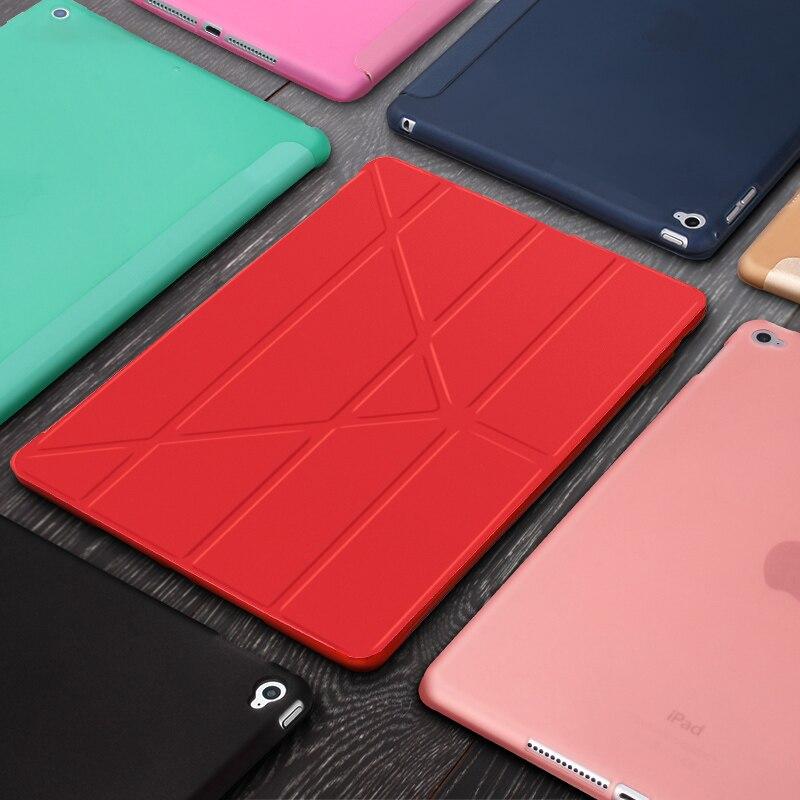 "Funda de Tablet para ipad Air 2 9,7 ""cuero PU Smart Sleep wake funda Trifold soporte sólido funda inteligente para ipad Air 2 A1566 A1567"