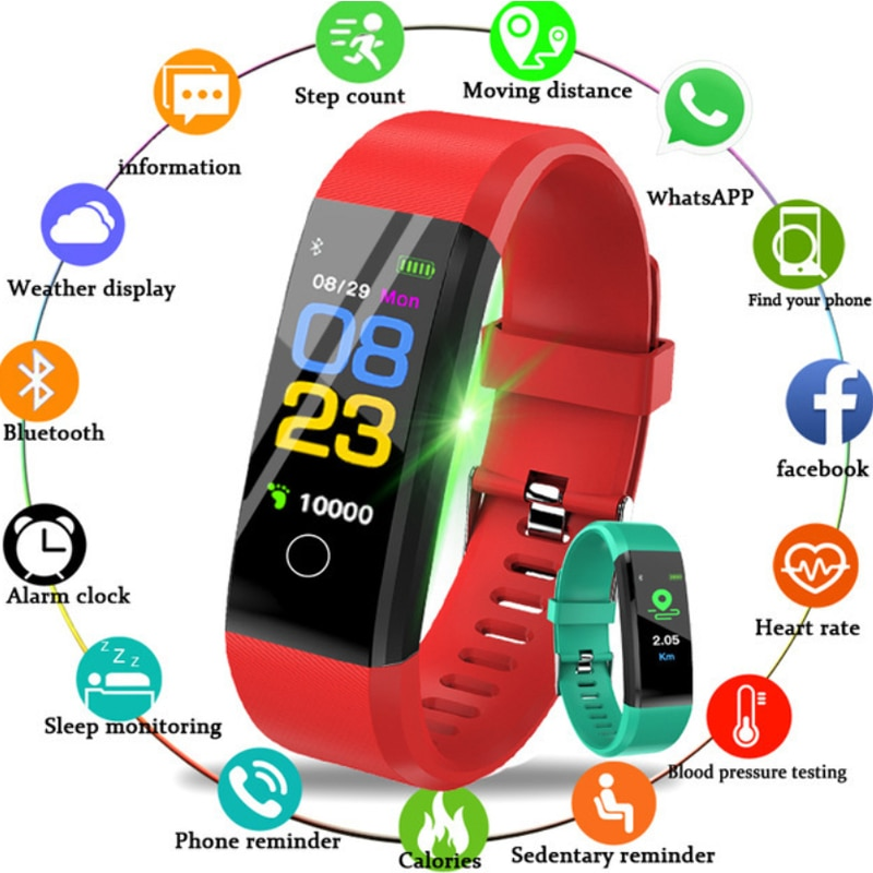 115 Plus de silicona relojes Fitness Tracker correa de seguimiento de ritmo cardíaco rastreador de pulsera inteligente reloj deportivo Marca deportiva