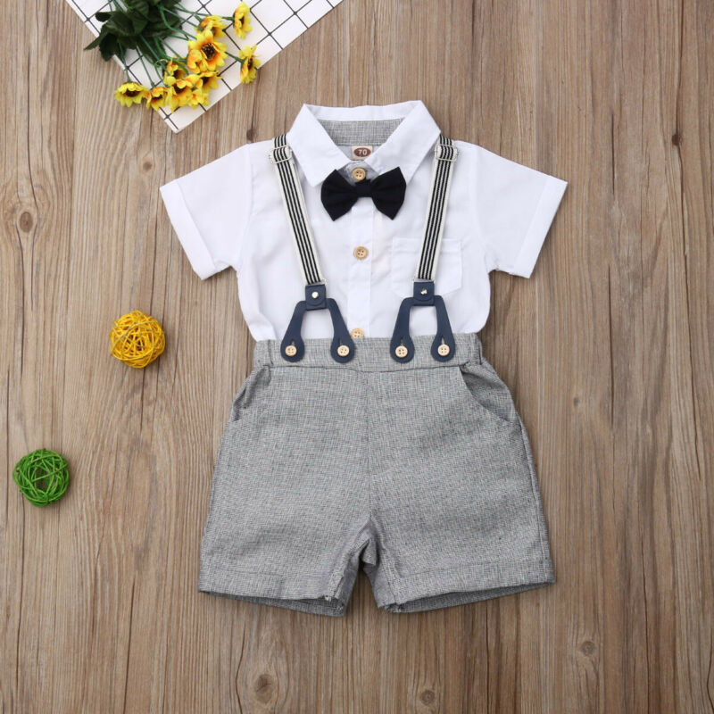 2020 Sommer Infant Kind Baby Junge Kurzarm Tops Bluse + Bib Shorts Outfit Overalls Kleidung Sommer Set