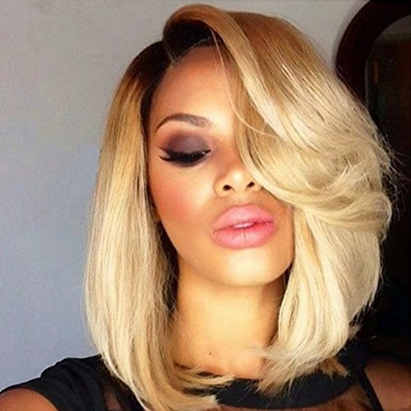 100% real Human hair Lace Front Wigs short straight Bob 13* 4 Swiss Lace lace frontal wog for women with wavy Bangs