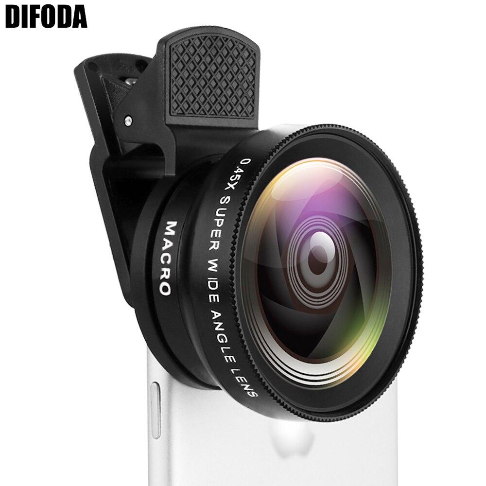 2 funktionen مفيد Objektiv 0.45X Weitwinkel لين 12.5X ماكرو HD كاميرا Objektiv العالمي الفراء فون الروبوت-مفيد DIFODA
