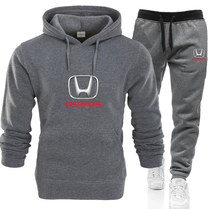2020 2 Pieces Sets Tracksuit Men Hooded Sweatshirt+pants Pullover HONDA Car logo Print Hoodie Sportwear Suit Casual Men Clothes