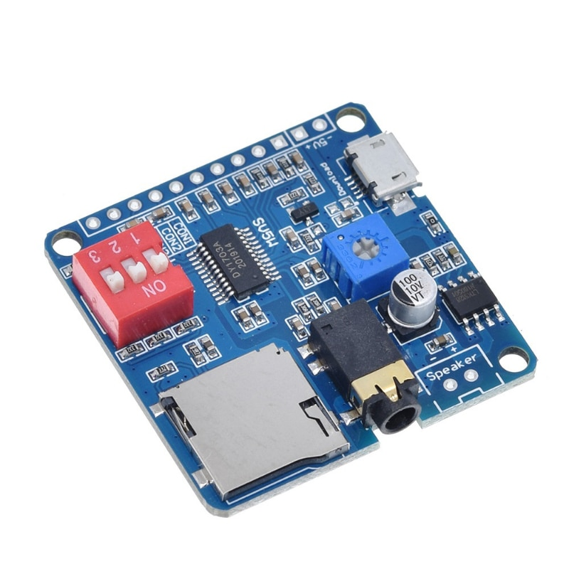 Для MP3 музыкального плеера Arduino, усилитель воспроизведения голоса, модуль 5 Вт, SD/TF карта, встроенный триггер UART I/O Class D