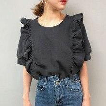 Woman Short Sleeve Blouse Ruffle Blouse Korean Japan Retro Round Neck Solid Slim T-Shirt Elegant Chi