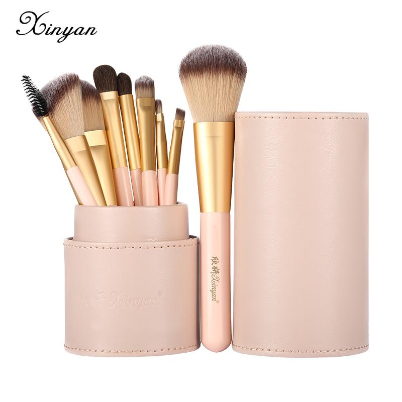 XINYAN Candy Makeup Brush Set Pink Blush Eyeshadow Concealer Lip Cosmetics Make up For Beginner Powd