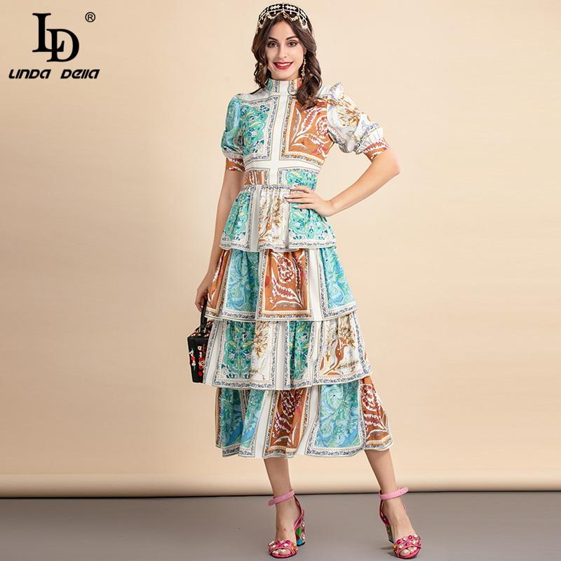 LD LINDA DELLA 2021 модное дизайнерское Летнее Длинное платье для женщин с пышными рукавами, каскадные оборки, цветочный принт, новые винтажные вече...