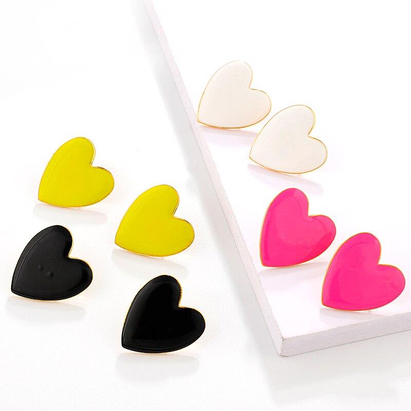 Lifefontier, pendientes grandes a la moda con esmalte en forma de corazón para mujer, Color rosa, amarillo, blanco y negro, pendientes en forma de corazón, regalo de joyería