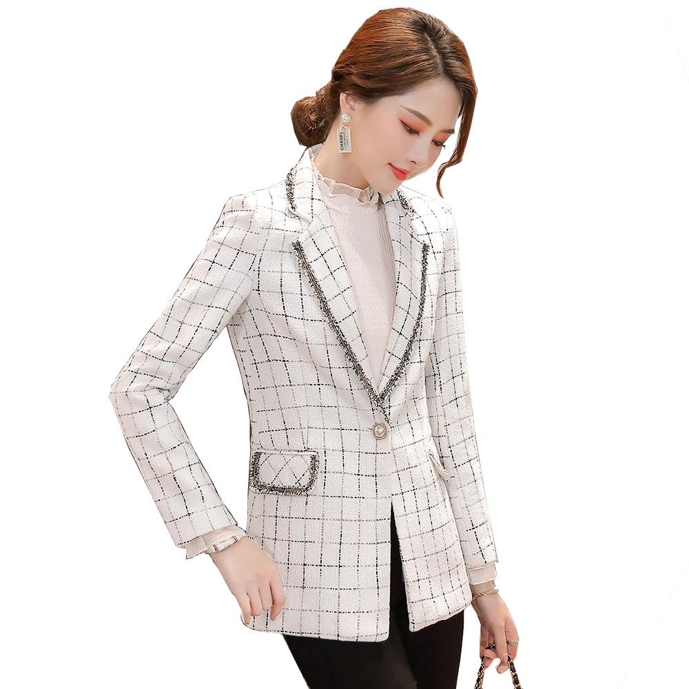 جاكيت بليزر منقوش للنساء, تصميم كوري أنيق 2021 لون أبيض أسود