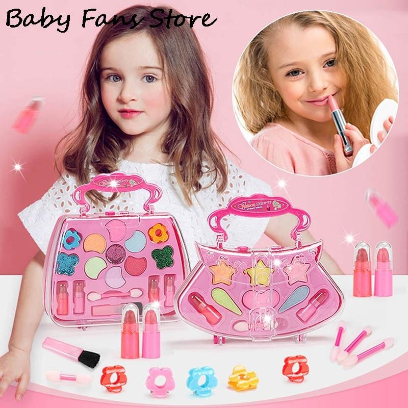 Princess Pink Color Cosmetics Set School Portable Make Up Bag Children Kids Makeup Box Girls Party Dress Up Storage Boxes 2022