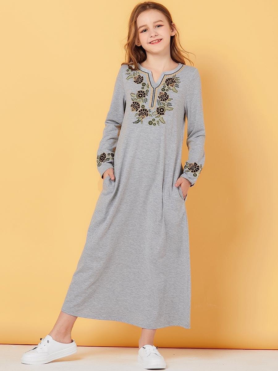 Girls Kaftan Dubai Abaya For Kids Hijab Muslim Dress Turkish Dresses Abayas Children Islam Caftan Qatar Ramadan Islamic Clothing