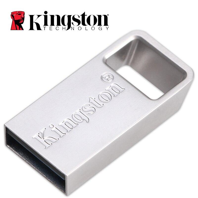 Kingston Mini Flash USB 3,1 Gen 1 Metal 64 GB Pen Drive sin tapa USB Flash Drive 32 GB 128GB de alta velocidad U disco con Llave de Anillo