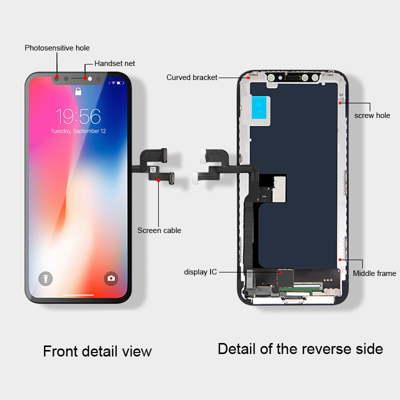 AAA+ For iphone X XR XS Max LCD OLED Screen Replacement iphone 11 Pro Max Display With 3D Touch Assembly True Tone No Dead Pixel enlarge