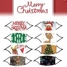 Noël décor masque dessin animé impression unisexe visage couverture arbre Santa Elk coupe-vent PM2.5 2021 bonne année cadeaux fête décoration
