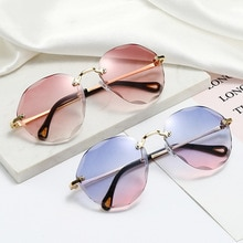 2021 Fashion Tea Gradient Sunglasses Women Ocean Water Cut Trimmed Lens Metal Curved Temples Sun Gla