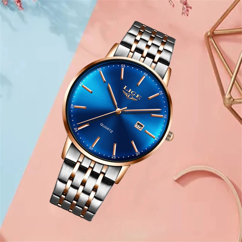 2021 Casual Women Watches Top Band Luxury Ultra-Thin Waterproof Stainless Steel Quartz Date Clock Wristwatch Gift For Women enlarge