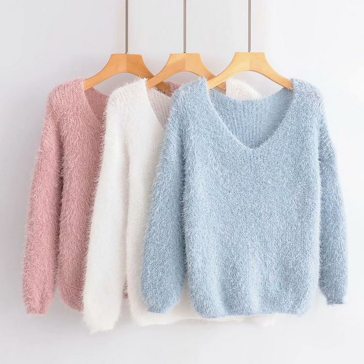 Women Clothes 2019 Hippocampus V-neck Sweater Women Bottoming Sweater Women Modis Long