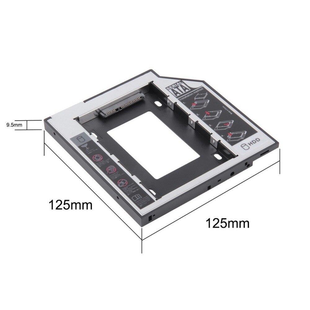 Купить с кэшбэком Universal 2.5 2nd 9.5mm Ssd Hd SATA Hard Disk Drive HDD Caddy Adapter Bay  For Cd Dvd Rom Optical Bay Hot New