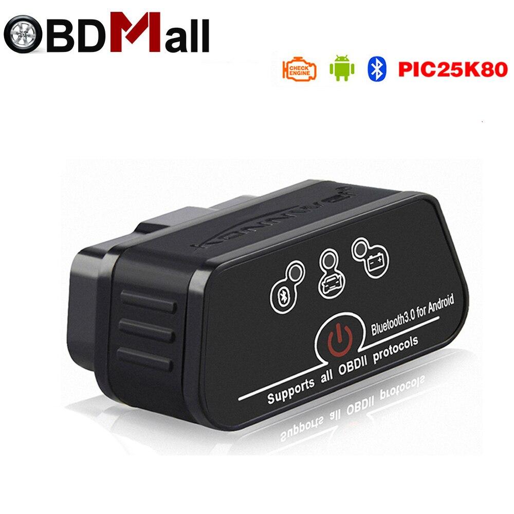 V1.5 ELM327 Obd2 Bluetooth автоматический сканер адаптер EML 327 в 1,5 с чипом Pic18f25k80 для Android OBD автомобиля Диагностика авто инструмент