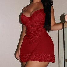 Sexy Woman Plus Size Sleeveless Satin Lace Trim Nightdress Ladies See Through Backless Lingeries Dre