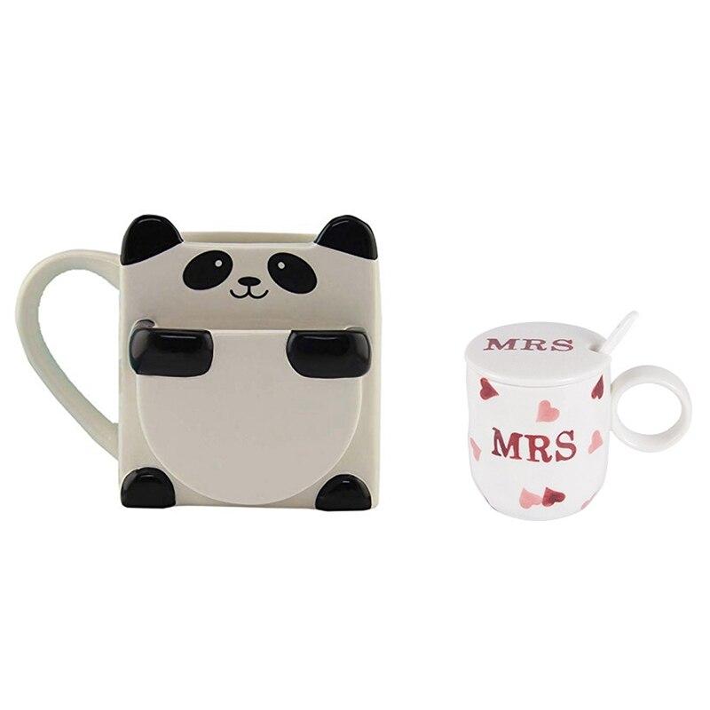 JFBL الساخن 1 مجموعة الباندا أكواب القهوة مزدوجة البسكويت أكواب شاي سيراميك و 1 مجموعة أكواب السيراميك الأزواج مع الملاعق والأغطية
