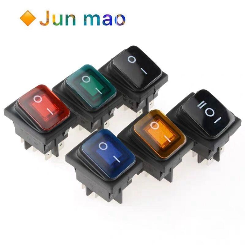 Interruptor basculante impermeable 16A 250VAC KCD4-201 12V 220V rojo verde azul amarillo luz iluminado DPST interruptor 4/6 pines on off