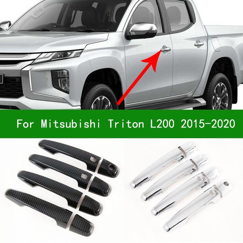 Chrome fibra de carbono maçaneta da porta lateral do carro cobre guarnições para mitsubishi triton l200 strada fiat fullback 2015-2020 2017 2018 2019