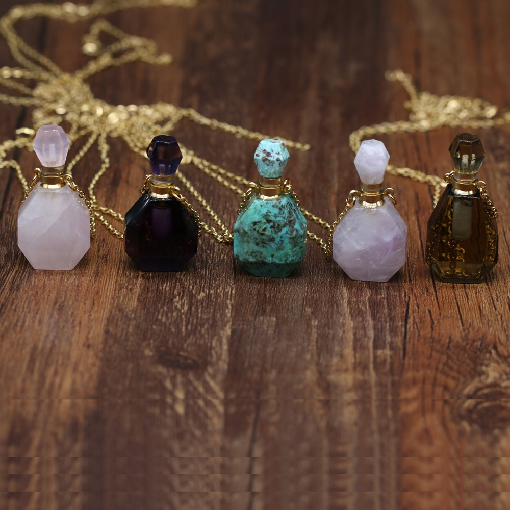 Perfume Bottle Pendant Necklace Natural Gem Stone Faceted Amethysts Quartz Essential Oil Diffuser Vial Jewelry Women's Necklaces  - buy with discount