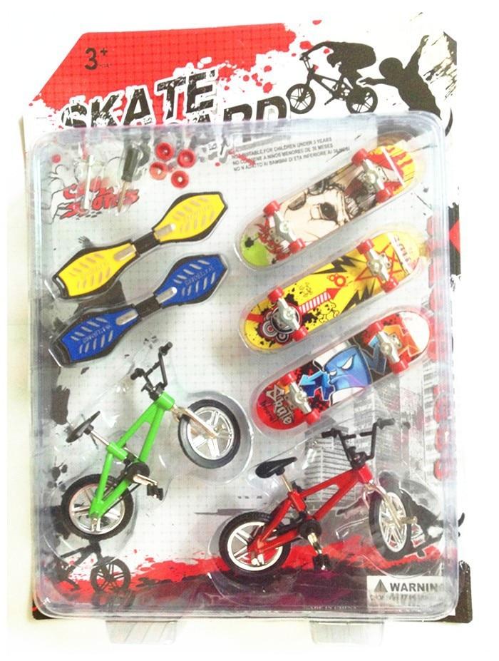 [Funny] 7pcs/set Alloy Tech Skateboard Stunt Ramp Deck toy professional tools graffiti fashion mini finger skateboard + bike toy