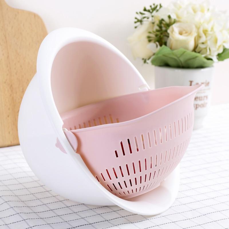 2020 de alta calidad de moda de doble drenaje cesta de lavado de cuenco de cocina colador de fideos verduras cesta de fruta suministros de cocina