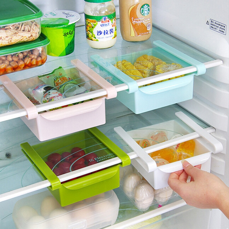 Kitchen Fresh-Keeping Refrigerator Storage Box Pull-Out Plastic Fruits Onion Garlic Crisper Classified Boxes Food Container Rack