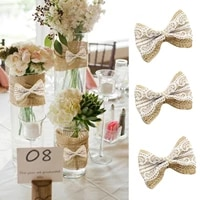 10pcspack wedding decoration natural jute diy ribbon bow knot burlap hessian flower party burlap scrap booking lace craft