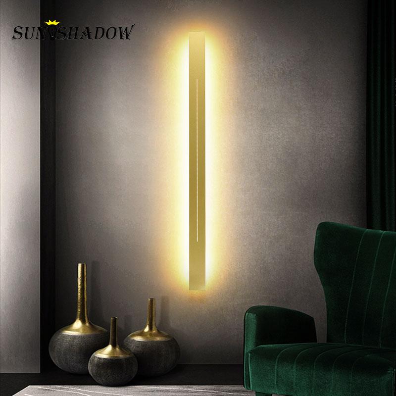 Sonces dorados, luces de pared 120 100 80 60 cm, moderna lámpara de pared Led para sala de estar, pasillo, luz de baño, lámpara Led de espejo, luz frontal