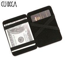CUIKCA Magic กระเป๋า Unisex กระเป๋าสตางค์ Magic Money Clip แถบยืดหยุ่น Slim กระเป๋าสตางค์หนังธุรกิจ ID บัตรเครดิตกรณี