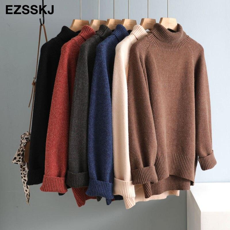 Casual dicken großen Herbst Winter high-neck oversize-Pullover Pullover Frauen warme chic weibliche lose kaschmir Grund wolle Pullover