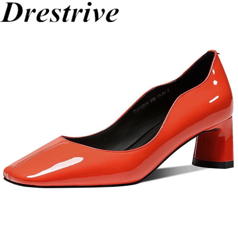 أحذية نسائية ذات مقدمة مربعة من جلد البقر اللامع من Drestrive أحذية كلاسيكية لصيف 2021 ذات كعب سميك وكعب عالي