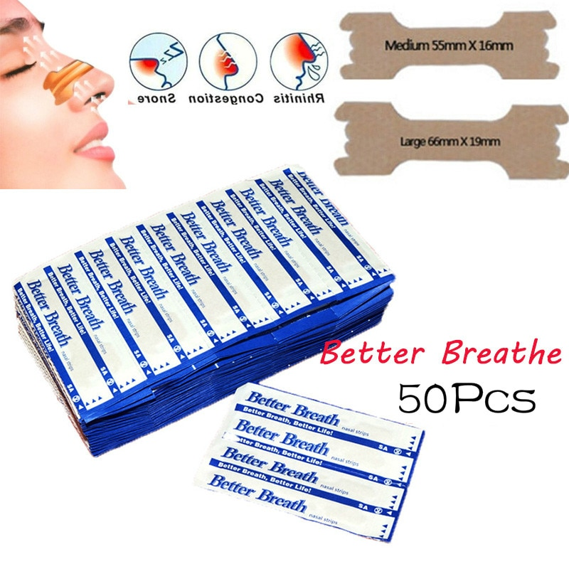 50 Pcs Breathe Nasal Strips Right Way Stop Snoring Anti Snoring Strips Easier Better Breathe Health