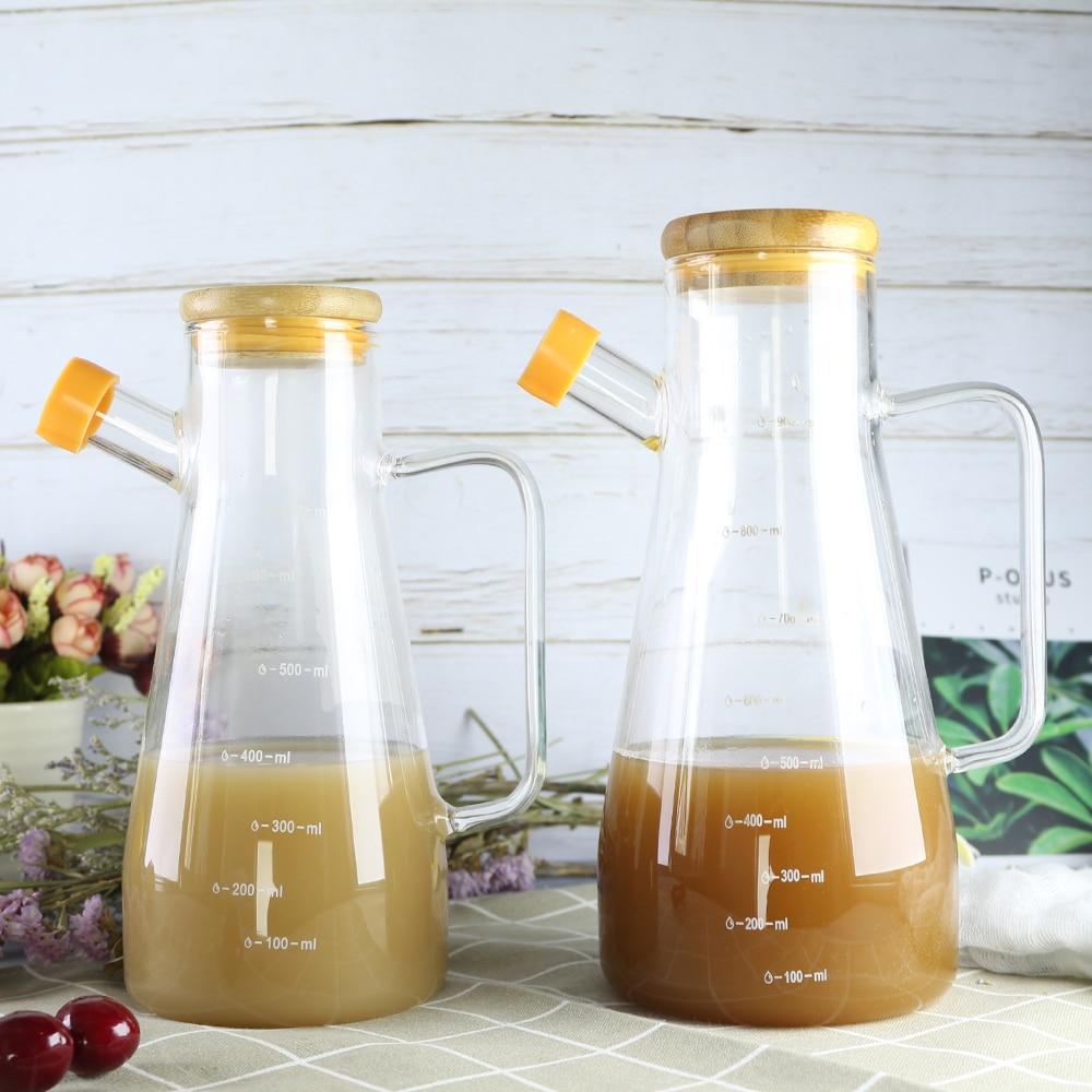 Molheira Frasco De Óleo De Vidro Transparente com Alça Escala Cozinha Ferramentas Recipiente de Soja Vinagre Tempero Jar