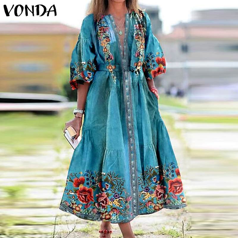 VONDA Women Dress 2021 Summer Spring Vintage Printed Long Sleeve Sexy V Neck Dresses Bohemian Party Vestidos Plus Size Sundress