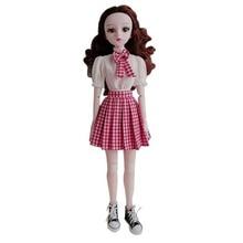 1/3 BJD 60cm poupées poupée vêtements blanc col roulé chemise rouge Plaid plissé jupe ensemble mode poupée accessoires bricolage jouets filles cadeau