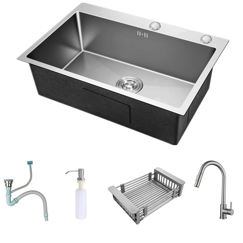 أحواض مطبخ مستطيلة من الفولاذ المقاوم للصدأ ، لون مصقول ، وعاء واحد ، فوق العداد ، مع صنبور ، 55x45 سم