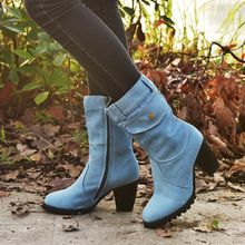 New Products Winter Women Fashion Chic Denim Special Pocket Side Zipper Thick Heel Calf Women Middle