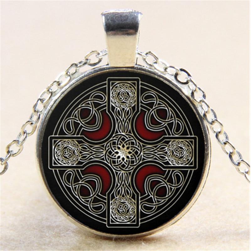 Collar de cadena de cristal con cabujón de la foto de la Cruz Celta Wicca, colgantes creativos con encanto para mujeres, accesorios de joyería de moda, regalos para amigos
